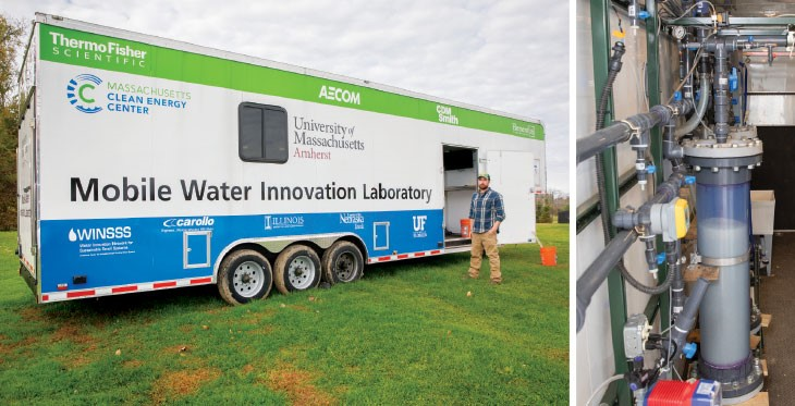 NICE WHEELS Patrick Wittbold, UMass Amherst quality assurance manager, helped design the Mobile Water Innovation Laboratory (left), a trailer that will test new drinking water technologies around Massachusetts. Inside the van is a flexible setup of filters, pipes and chemicals (right).